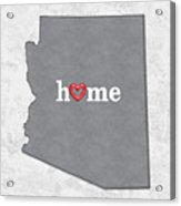 State Map Outline Arizona With Heart In Home Acrylic Print