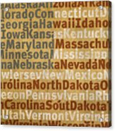 State Names American Flag Word Art Red White And Blue Acrylic Print