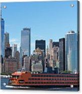 Staten Islan Ferry With Nyc Skyline Acrylic Print
