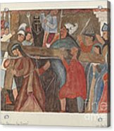 """Station Of The Cross No. 5: """"jesus Is Assisted In Carrying His Cross Acrylic Print"""