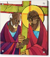 Stations Of The Cross - 05 Simon Helps Jesus Carry The Cross - Mmshj Acrylic Print