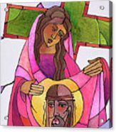 Stations Of The Cross - 06 St. Veronica Wipes The Face Of Jesus - Mmvew Acrylic Print