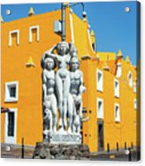Statue And Yellow Theater Acrylic Print