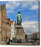 Statue Of Jan Van Eyck Beside The Spieglerei Canal In Bruges Acrylic Print