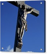Statue Of Jesus Christ On The Cross Acrylic Print by Sami Sarkis