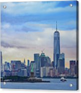 Statue Of Liberty And Manhattan Acrylic Print