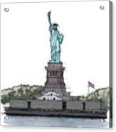 Statue Of Liberty, New York Sketch Acrylic Print