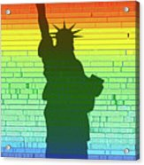 Statue Of Liberty Rainbow Acrylic Print