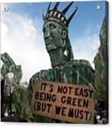 Statue Of Liberty Street Puppet At Political Demonstration Acrylic Print