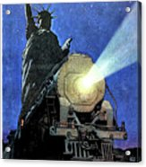 Statue Of Liberty With Steam Train, We Shall Not Fail Acrylic Print