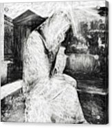 Statue Of Weeping Woman, Lafayette Cemetery, New Orleans In Black And White Sketch Acrylic Print