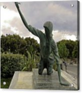 Statue Of Woman Crawling On Marble Street Acrylic Print