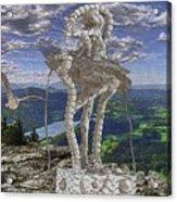 Statue On The Rocks  Acrylic Print