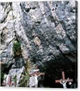 Statues Of Jesus Christ On The Cross At The Christian Pilgrimage Site Of La Sainte-baume Acrylic Print by Sami Sarkis