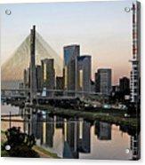 Stayed Bridge And Modern Sao Paulo Skyline Acrylic Print by Carlos Alkmin