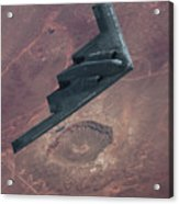 Stealth Over The Arizona Meteor Crater Acrylic Print