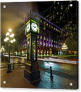 Steam Clock In Gastown Vancouver Bc At Night Acrylic Print