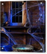 Steaming Cauldron In A Witch Cabin Acrylic Print