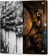 Steampunk - Controls On The Uss Washington 1920 - Side By Side Acrylic Print