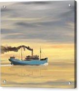 Steamship Freighter Heading Towards The Ocean Acrylic Print