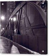Steel Bridge Chicago Black And White Acrylic Print