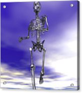 Steel Running Skeleton On Wet Sand Acrylic Print