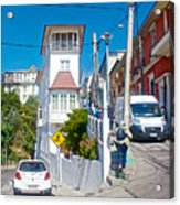 Steep Streets Up The Hills In Valparaiso-chile   Acrylic Print