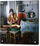 Stefania Cleans Strawberries In Chortkiw Ukraine Acrylic Print