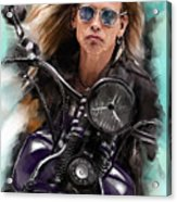 Steven Tyler On A Bike Acrylic Print