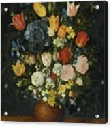 Still Life Of Flowers In A Stoneware Vase Acrylic Print