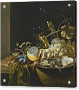 Still Life Of Hazelnuts Grapes Oysters And Other Foods On A Draped Table Acrylic Print