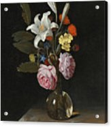 Still Life Of Roses Lilies And Other Flowers In A Glass Vase On A Marble Ledge Acrylic Print