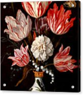 Still Life Of Variegated Tulips In A Ceramic Vase With A Wasp A Dragongly A Butterfly And A Lizard Acrylic Print