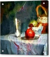Still Life Oil Painting Table With Pomegranate Ceramic Kettle Glass Knife And Bowl Of Fruit Pears Linen Sketch Painting Life Drawing Acrylic Print