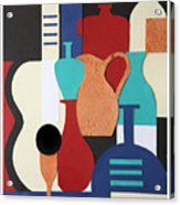 Still Life Paper Collage Of Wine Glasses Bottles And Musical Instruments Acrylic Print