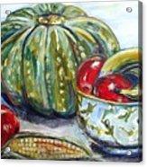 Still-life Pumpkin And Apples Acrylic Print