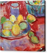 Still Life With A Red Cloth Acrylic Print