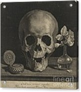 Still Life With A Skull And A Vase Of Roses Acrylic Print