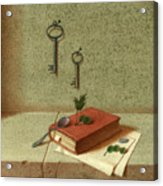 Still Life With A Small Book Acrylic Print