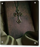Still Life With An Old Book And Cross Pendant Acrylic Print