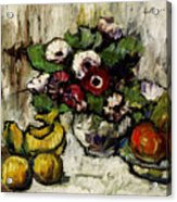 Still Life With Anemones And Fruit Acrylic Print