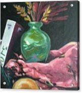 Still Life With Apple  Book And Vase Acrylic Print