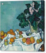 Still Life With Apples And A Pot Of Primroses, 1890 Acrylic Print