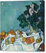 Still Life With Apples And A Pot Of Primroses Acrylic Print