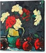 Still Life With Apples And Carnations Acrylic Print by Ana Maria Edulescu