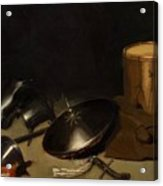 Still Life With Armor Shield Halberd Sword Leather Jacket And Drum Acrylic Print