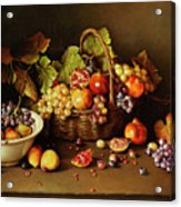 Still Life With Basket And Pomegranate Acrylic Print