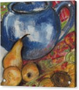 Still Life With Blue Teapot One Acrylic Print