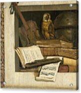 Still Life With Books Sheet Music Violin Celestial Globe And An Owl Acrylic Print