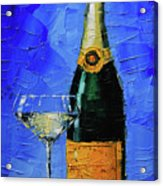Still Life With Champagne Bottle And Glass Acrylic Print